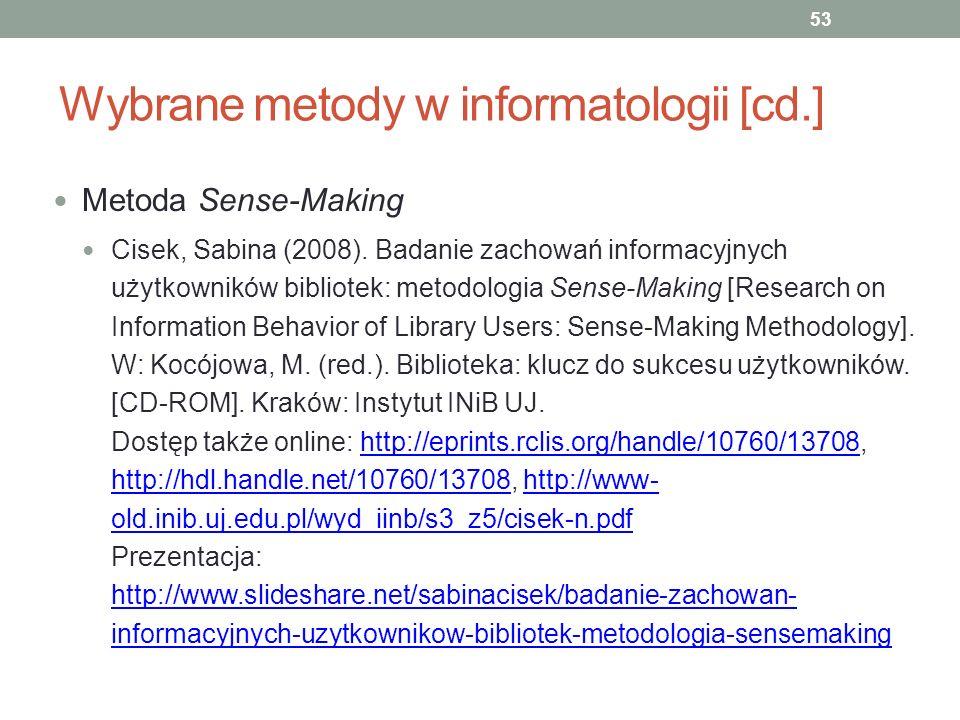 Wybrane metody w informatologii [cd.]